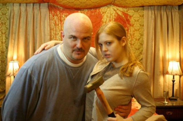 Sumner & Anything Horror fav Deneen Melody on the set of III SLICES OF LIFE.