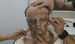 Toby Jones in makeup for THE GIRL... and the four hours a day he spent was worth it!
