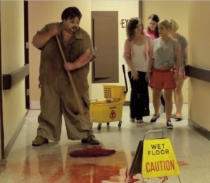 Seriously, if you aren't alarmed by the creepy guy MOPPING UP BLOOD IN FRONT OF YOU, maybe you deserve what you get?
